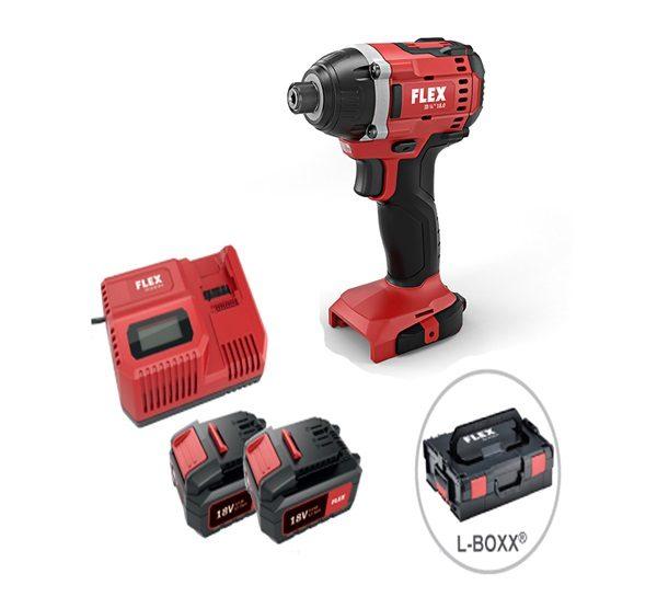 FLEX ID 1/4″/18.0/5,0Ah  akkus ütve-csavarbehajtó szett+ koffer 18V (750200)